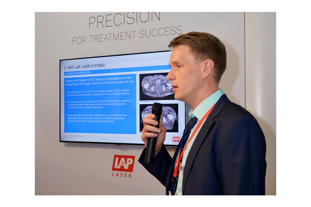 Dr. Steffen Lissner presenting new laser systems at ESTRO