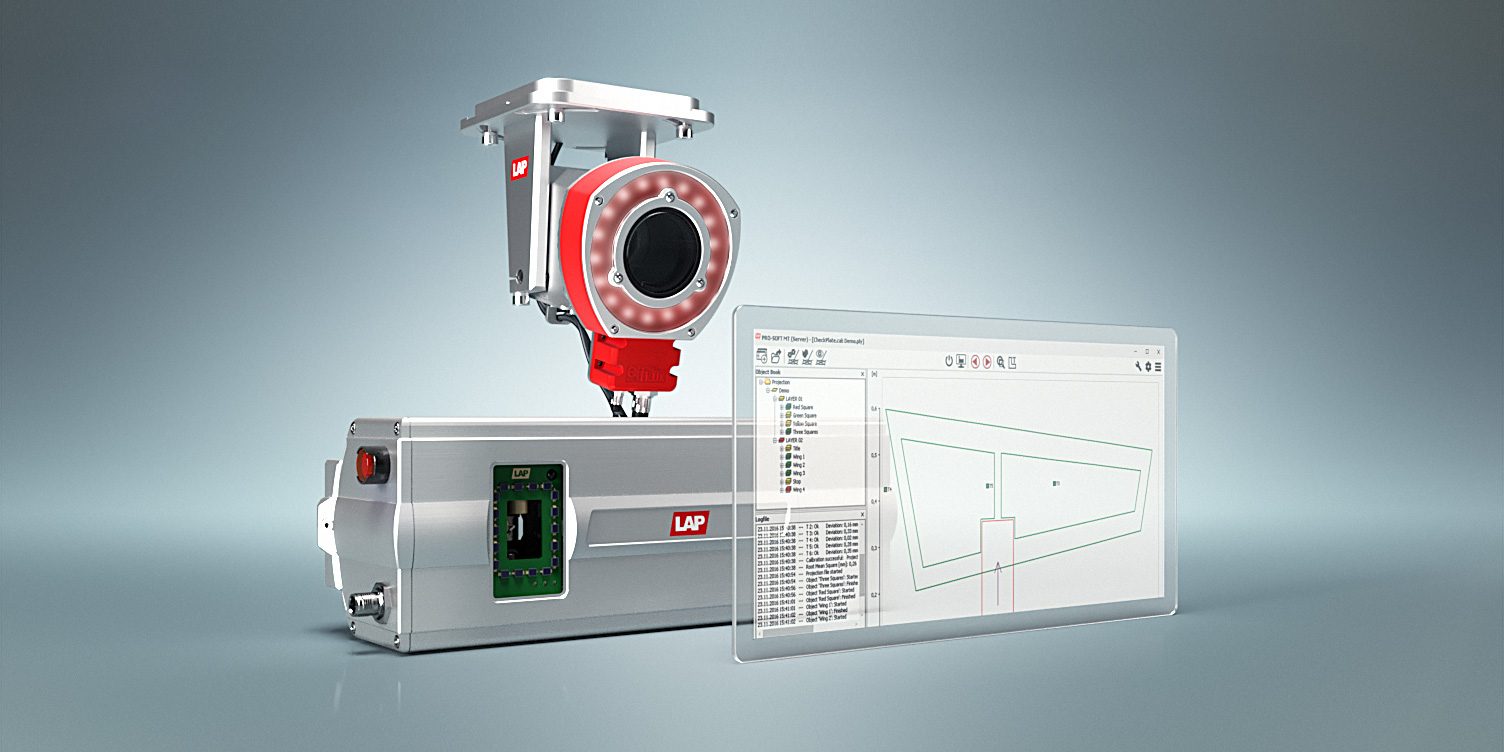 System components - DTEC-PRO camera system, CAD-PRO laser projector, PRO-SOFT control software