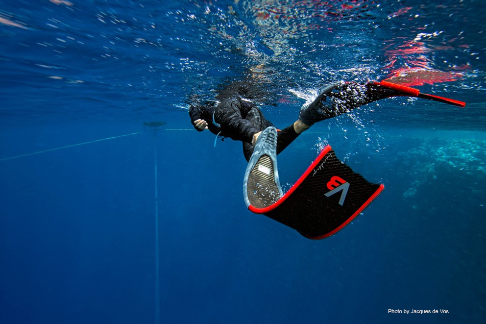 Diver with carbon fibre fins