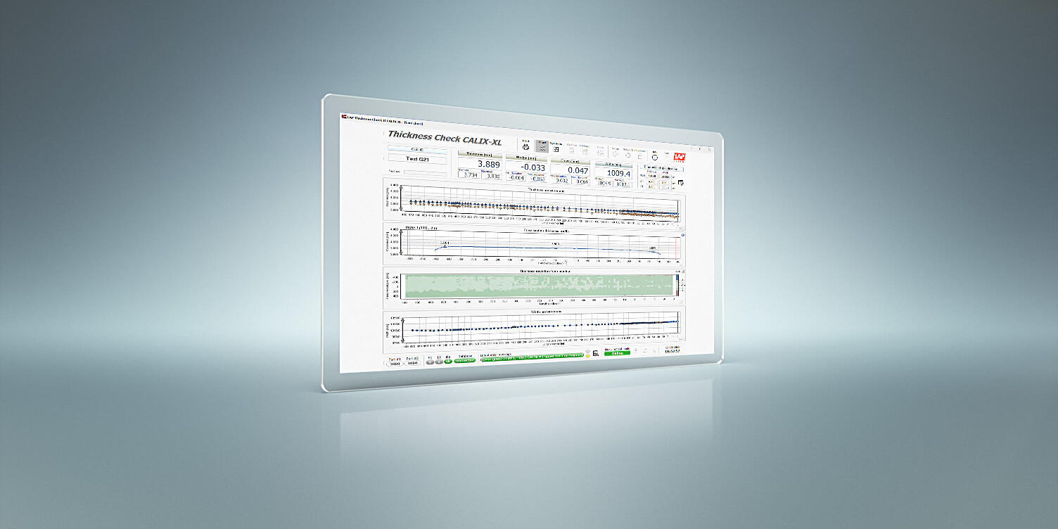 Screenshot of the Calix software shows the exact values of the strip thickness of sheet metal and strip steel.