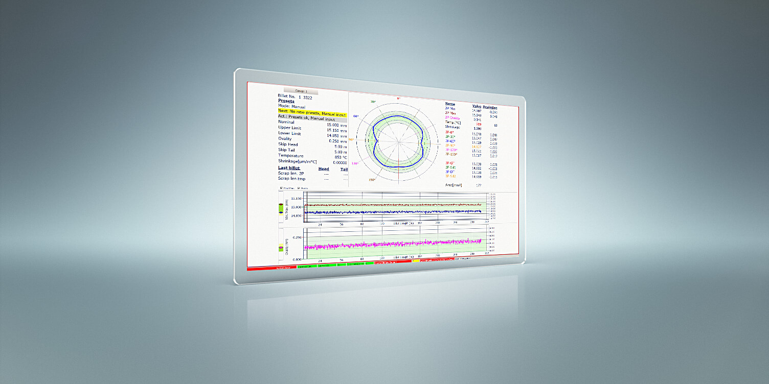 Visualizes dimensions of round and square steel profiles during the rolling process and shows deviations in real time.